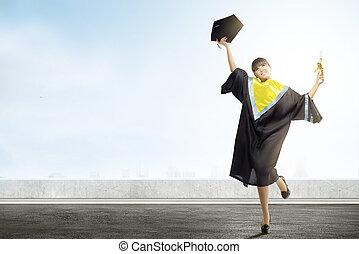 kobieta, dyplom, skala, kolegium, asian, dzierżawa, mortarboard, kapelusz, świętować