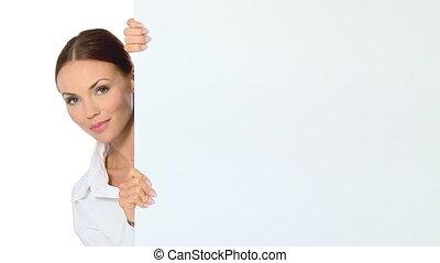 kobieta dzierżawa, deska, handlowy, opróżniać, piękny, biały