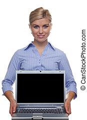 kobieta dzierżawa, ekran, czysty, laptop