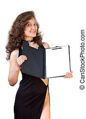 kobieta dzierżawa, handlowy, odizolowany, wkładać falcownika