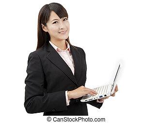 kobieta dzierżawa, handlowy, uśmiechanie się, asian, laptop