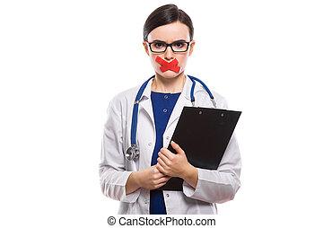 kobieta dzierżawa, jej, doktor, młody, jednolity, związywał taśmą, usteczka, clipboard, stetoskop, tło, siła robocza, biały
