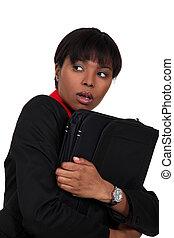 kobieta dzierżawa, jej, walizka