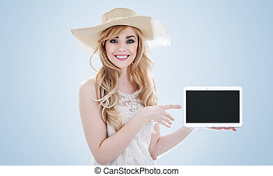 kobieta dzierżawa, młody, ładny, urządzenie, portret, elektronowy