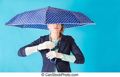 kobieta dzierżawa, na, parasol