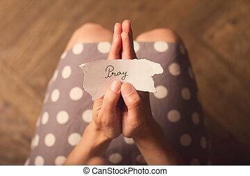 kobieta dzierżawa, papier, nuta, z, przedimek określony przed rzeczownikami, tekst, modlić się