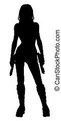 kobieta dzierżawa, pistolety, sylwetka