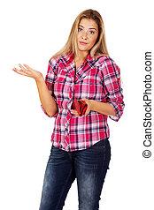 kobieta dzierżawa, portfel, i, gesturing, dont, wiedzieć