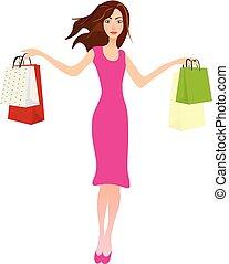 kobieta dzierżawa, shopping torby