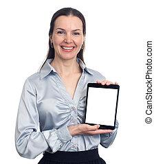 kobieta dzierżawa, tabliczka, cyfrowy
