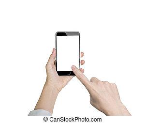 kobieta, ekran, ręka, telefon, dotykanie, dzierżawa, palec wskazujący, biały, mądry