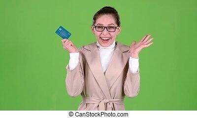 kobieta, ekran, zielony, karta, bogaty, win., bank, szczęśliwy