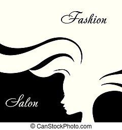 kobieta, fason, hair., długi, sylwetka