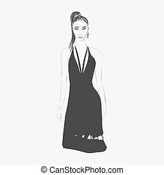 kobieta, fason, illustration.