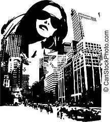kobieta, fason, ilustracja