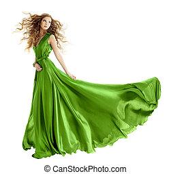 kobieta, fason, na, piękno, wieczorny, tło, odizolowany, ...
