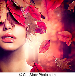 kobieta, fason, portrait., upadek, jesień