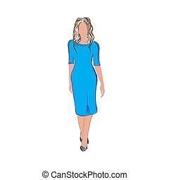 kobieta, fason, wektor, ilustracja, rys