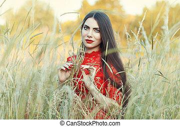 kobieta, field.