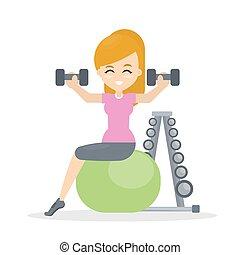 kobieta, fitness.