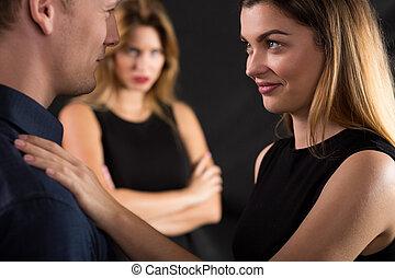 kobieta, flirtując, żonaty, człowiek