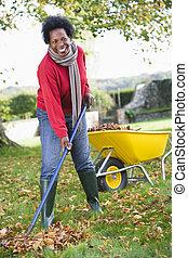 kobieta, focus), liście, taczki, amfiladowy, outdoors, (...