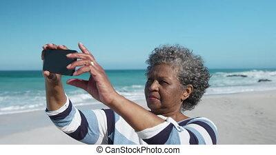 kobieta, fotografie, senior, plaża, wpływy
