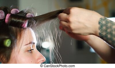 kobieta, fryzjer, fryzura, girl., marki