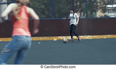 kobieta, futbolowy zaprzęg, interpretacja, outdoors., samica, drużyna piłki nożnej
