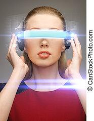 kobieta, futurystyczny, okulary