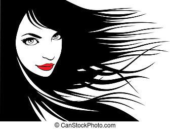 kobieta, głowa i, ich, włosy, (hair, stylista, vector)