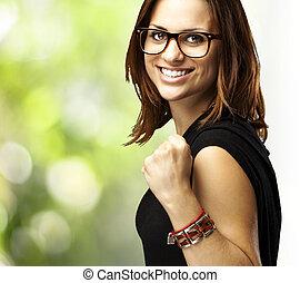 kobieta, gesturing, zwycięstwo