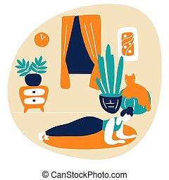 kobieta, gimnastyczny, home., lekkoatletyka, trening, wektor, młody, płaski, ruch, plank., ilustracja