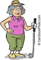 kobieta, golf, emerytowany, gry