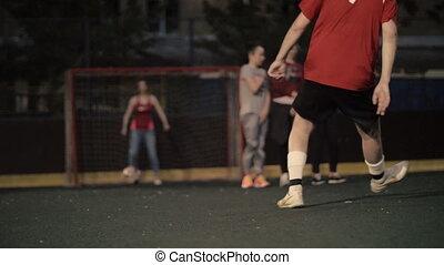 kobieta, gra, football., samica, footballer., kobieta, drużyna piłki nożnej
