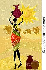 kobieta, grudzień, krajobraz, afrykanin