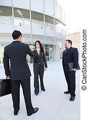 kobieta, grupa, handlowiec