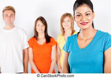 kobieta, grupa, ludzie, młody, indianin, przód