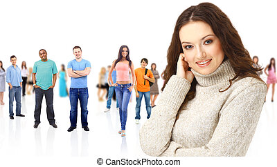 kobieta, grupa, students., cielna, na, młody, tło, biały, uśmiechanie się