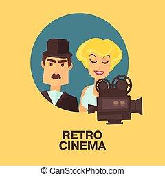 kobieta, gwiazda, kino, film, aktor, characters., retro, komik, aktorka, człowiek