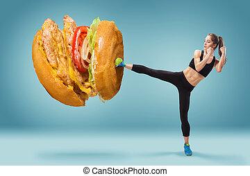 kobieta, hamburger, energiczny, atak, jadło, boks, młody,...