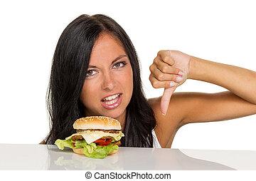 kobieta, hamburger