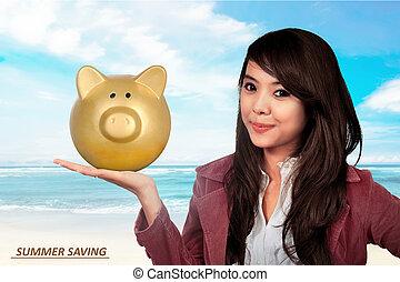 kobieta handlowa, świnka, dzierżawa, uśmiechanie się, bank, asian