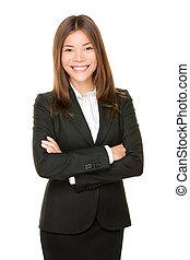 kobieta handlowa, asian, portret, uśmiechnięty szczęśliwy