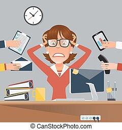 kobieta handlowa, biurowa praca, ilustracja, wektor, akcentowany, multitasking, place.