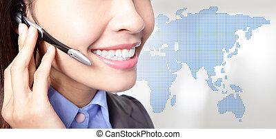 kobieta handlowa, do góry, asian, operator, zamknięcie