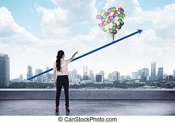 kobieta handlowa, do góry, patrząc, asian, strzała