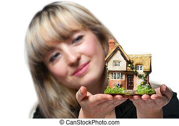 kobieta handlowa, dom, zawiera, siła robocza, mały