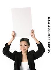 kobieta handlowa, dzierżawa, billboard.