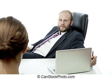 kobieta handlowa, ignorować, brunetka, biurko, człowiek, ...